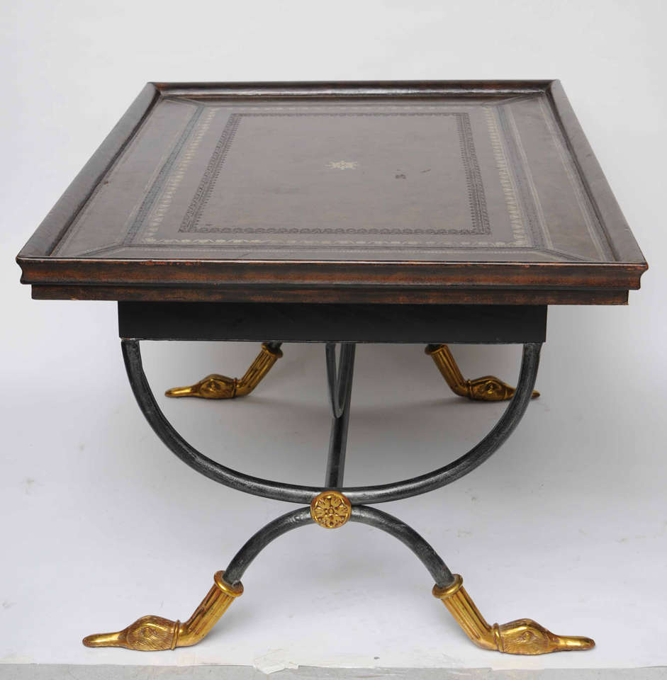 Neoclassical Leather Top Coffee Table At 1stdibs
