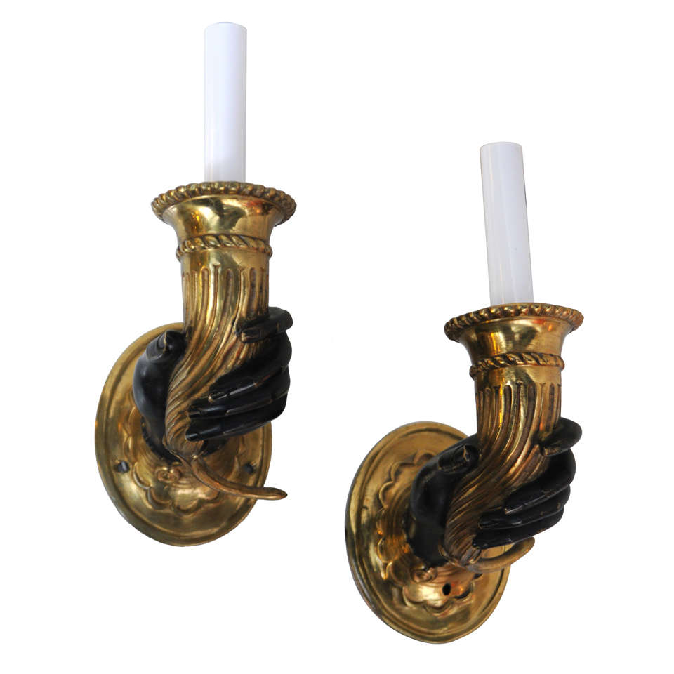 pair dore bronze 19th century blackamore hands light. Black Bedroom Furniture Sets. Home Design Ideas