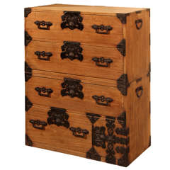 Japanese Clothing Chest with Fine Iron Hardware