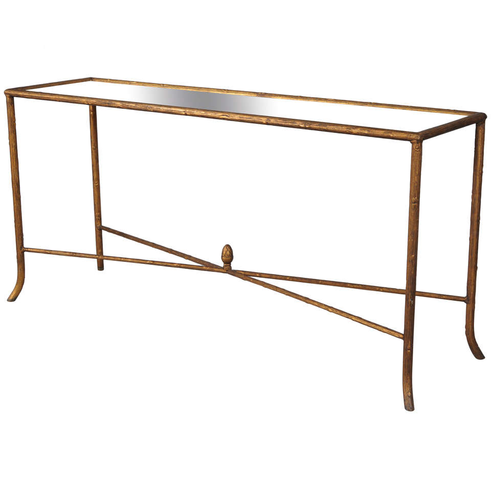 Faux Bois Console With Mirrored Top For Sale At 1stdibs