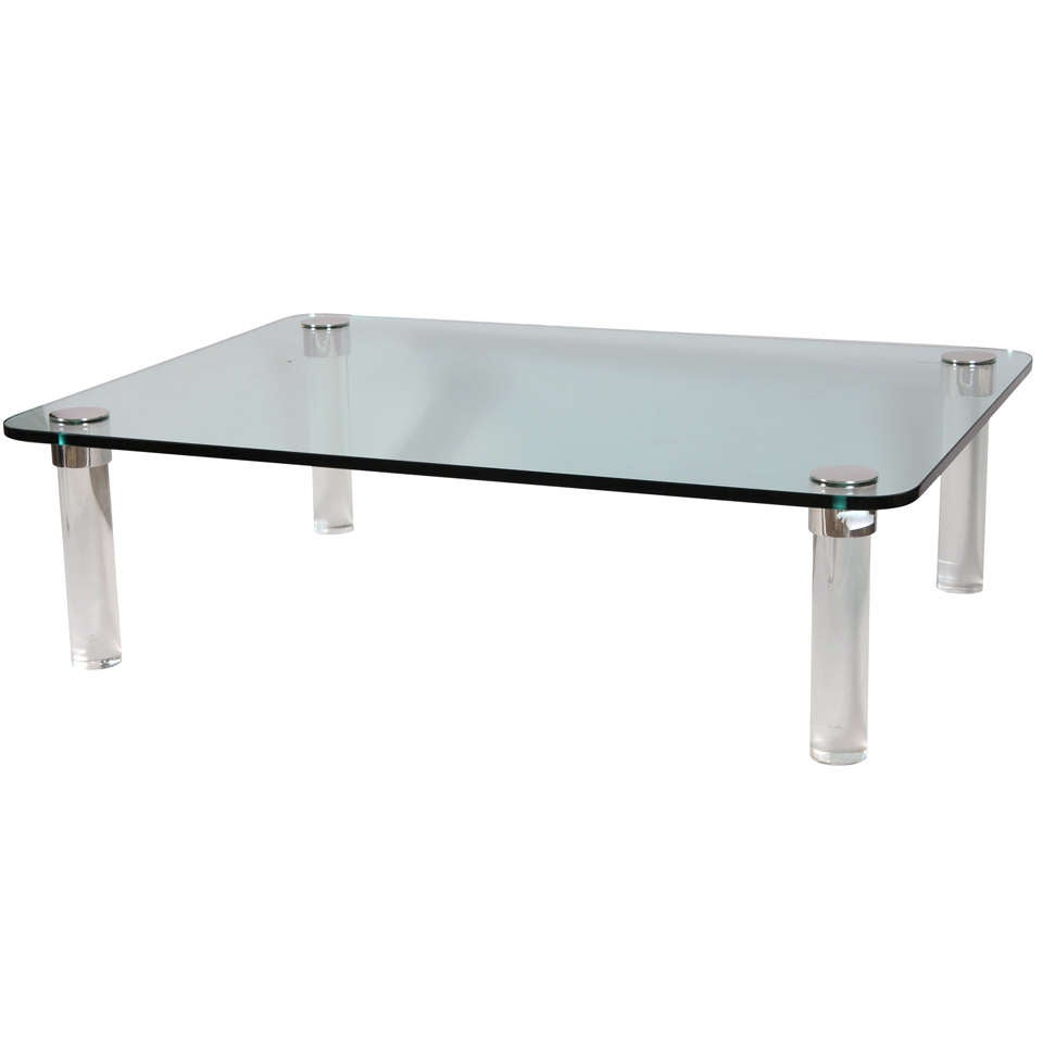 Pace Cocktail Table With Chrome Capped Lucite Legs At 1stdibs