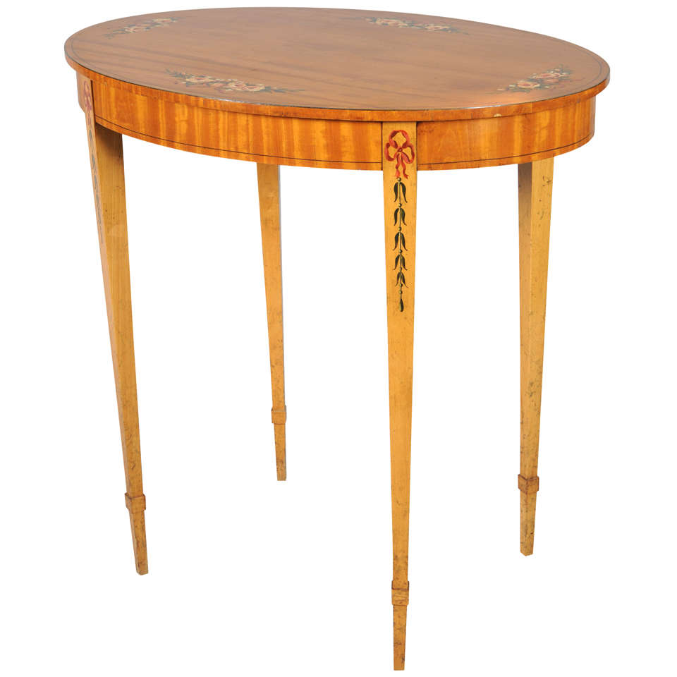 Handpainted Satinwood Occasional Table
