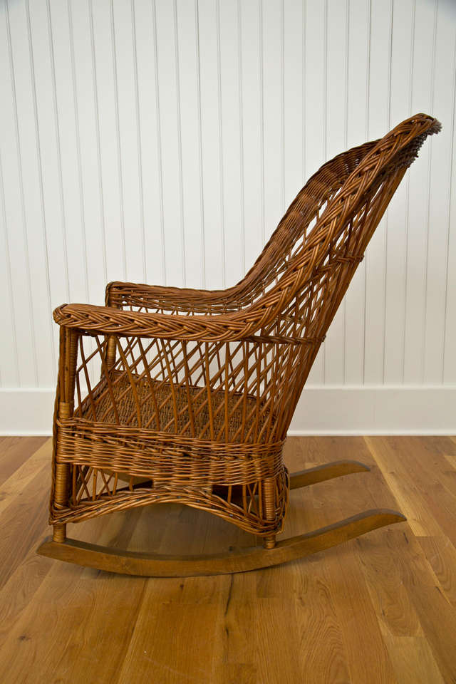 Natural Antique Wicker Rocker At 1stdibs