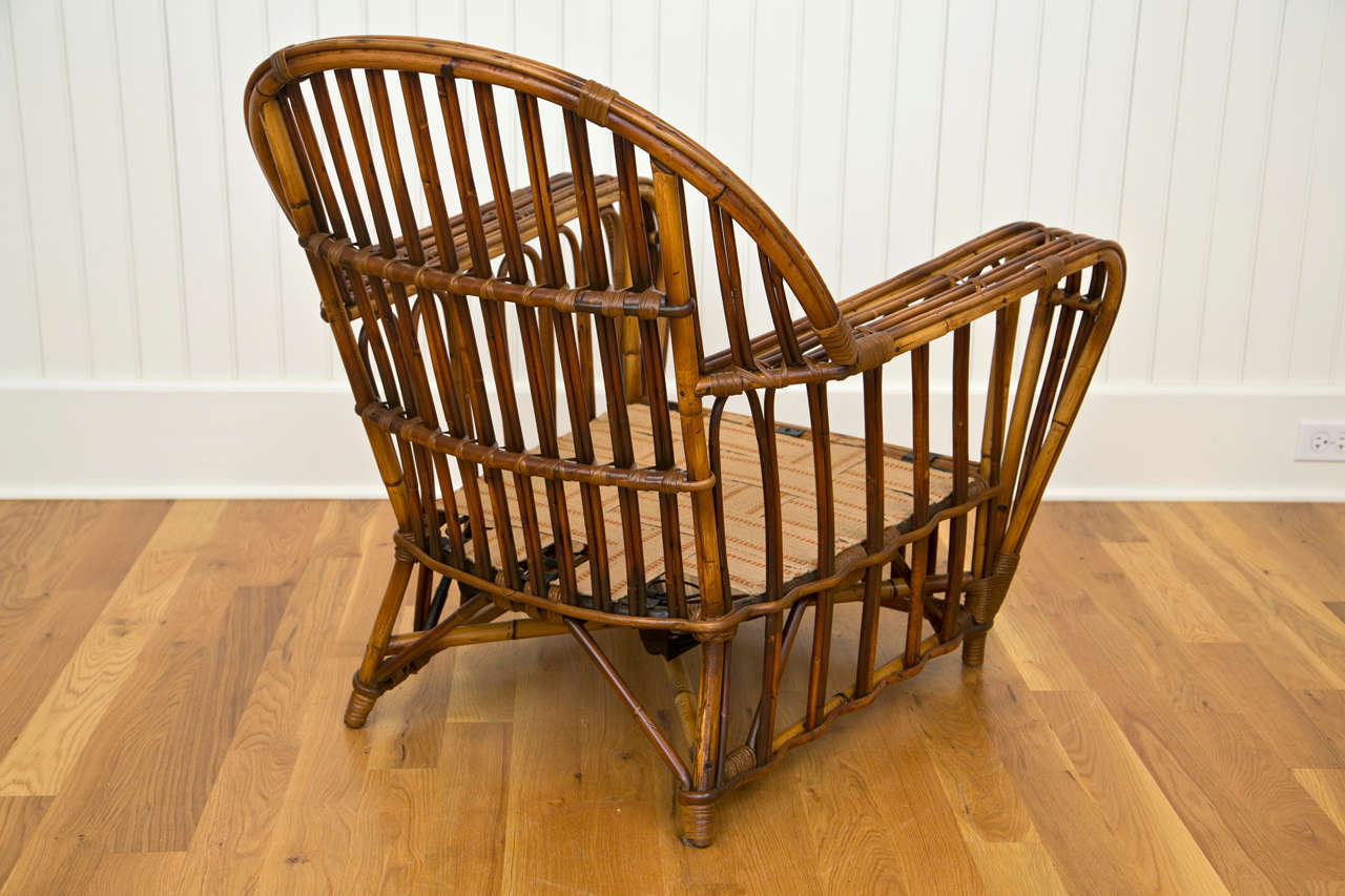 Antique Stick Wicker Chair And Ottoman At 1stdibs
