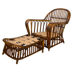Antique Stick Wicker Chair and Ottoman