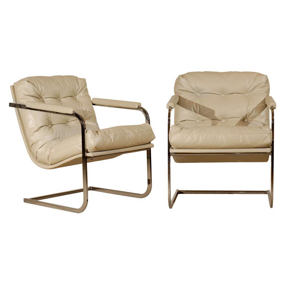 Pair of Milo Baughman Vertical Flat Bar Lounge Chairs