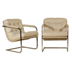 Pair of Milo Baughman Style Vertical Flat Bar Lounge Chairs