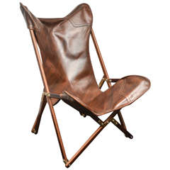 """Contemporary Leather """"Campaign"""" Chair"""