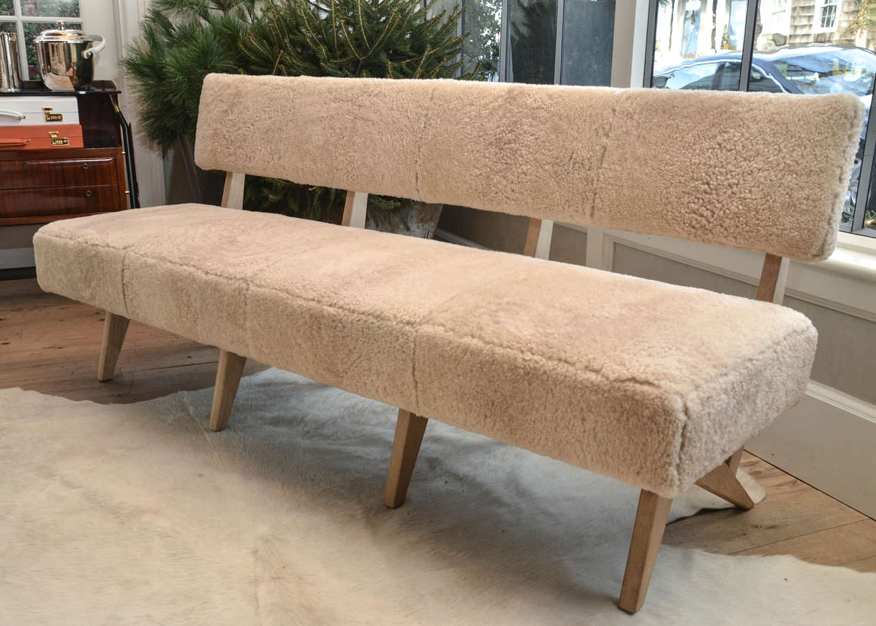 """Contemporary """"Metropole N.2"""" Bench in Shearling Designed by MONC XIII 2"""