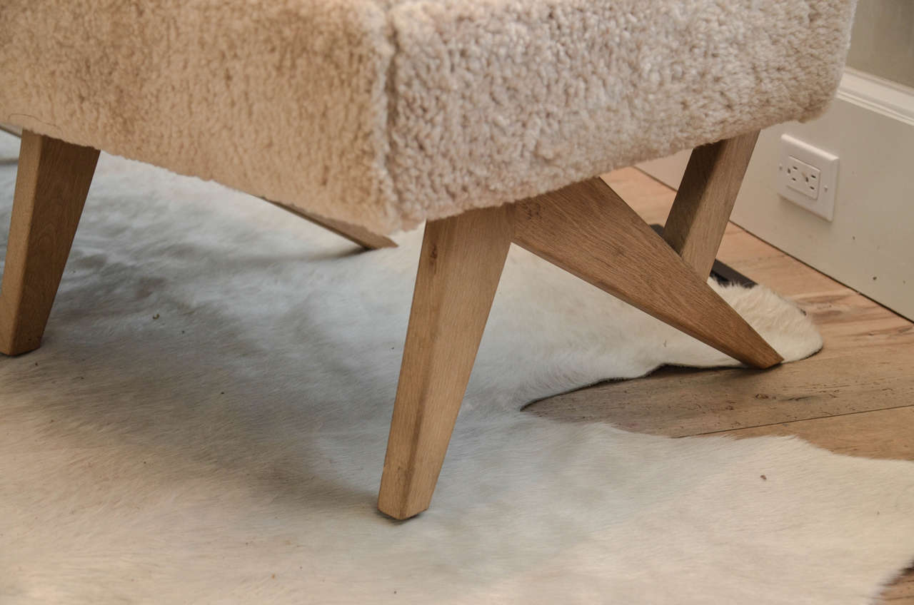 """Contemporary """"Metropole N.2"""" Bench in Shearling Designed by MONC XIII 3"""