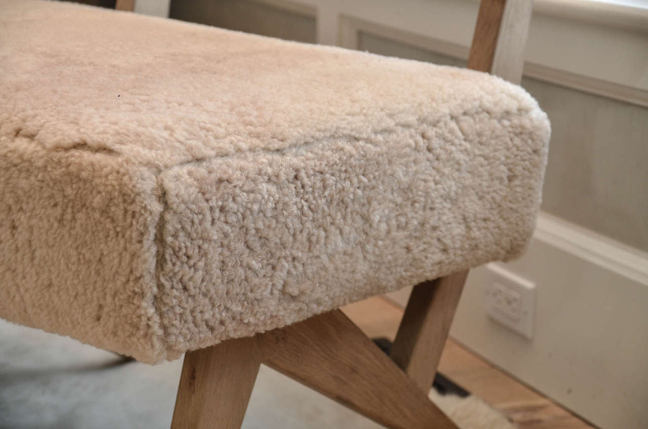 """Contemporary """"Metropole N.2"""" Bench in Shearling Designed by MONC XIII 4"""