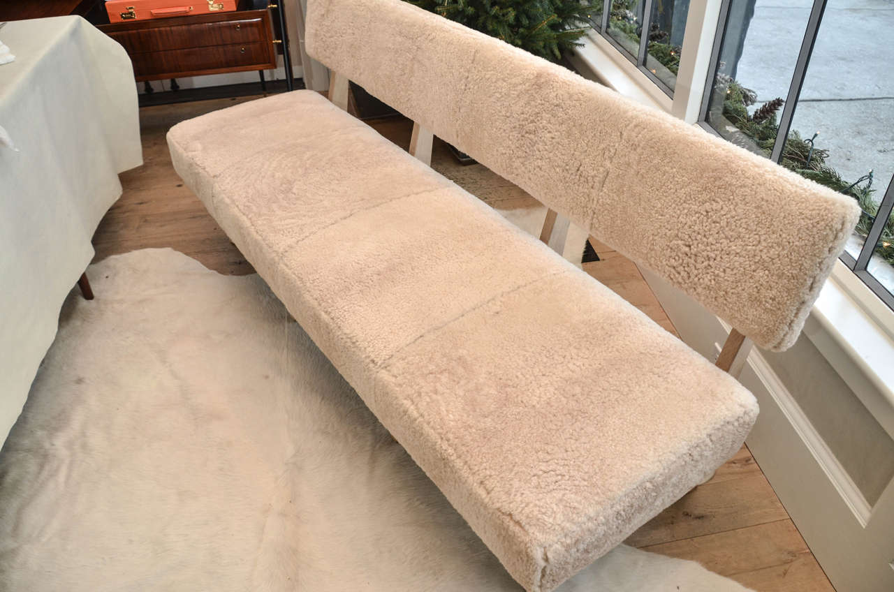 """Contemporary """"Metropole N.2"""" Bench in Shearling Designed by MONC XIII 6"""