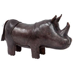Leather Rhino Sculpture by Omersa