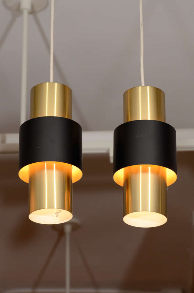 Pair Of Danish Modern Cylindrical Brass Pendant Lamps At