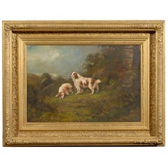 1890s Oil Painting of Sporting Dogs in Landscape by Scottish Artist Peter Graham