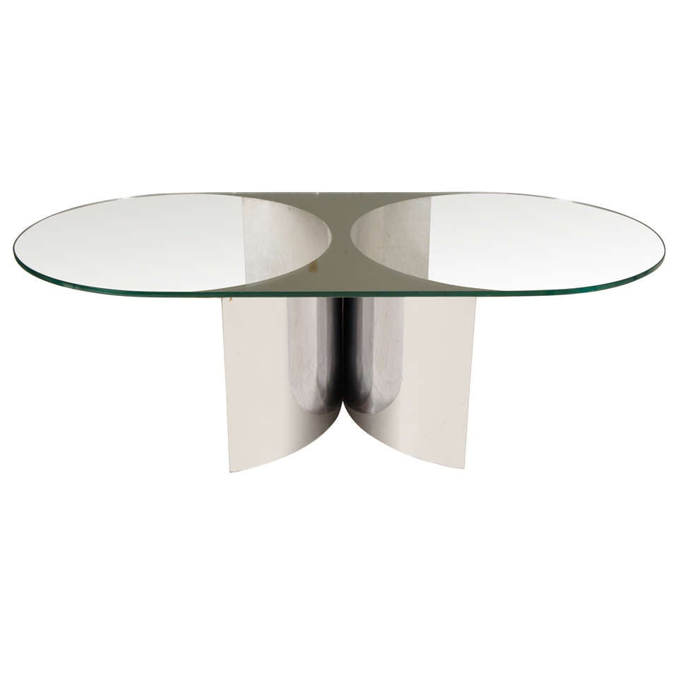A Hip Vintage 70 39 S Chrome Glass And Mirror Coffee Table At 1stdibs
