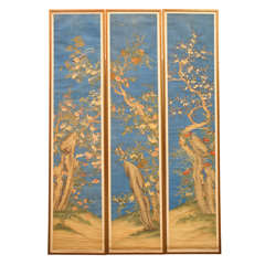 A Very Fine Set of Three Chinese Painted Silk Panels