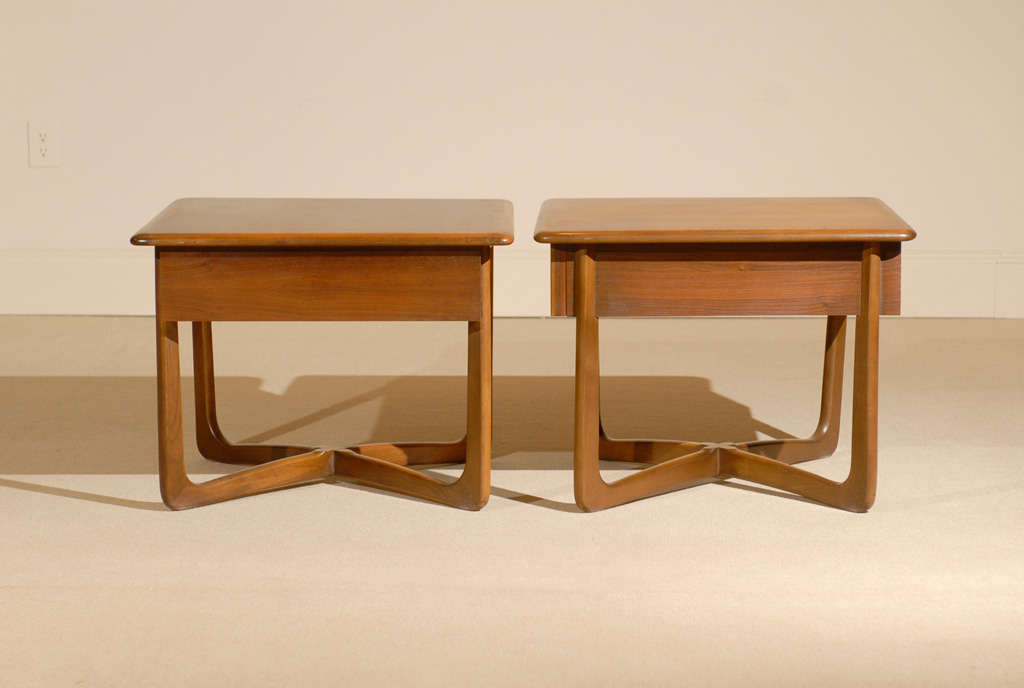 Pair Of Warren Church For Lane Walnut Basket Weave End Tables At 1stdibs