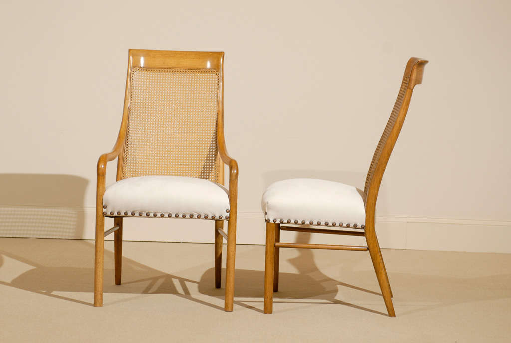 Late 20th Century Set of Six (6) Drexel Cane High Back Dining Chairs For Sale