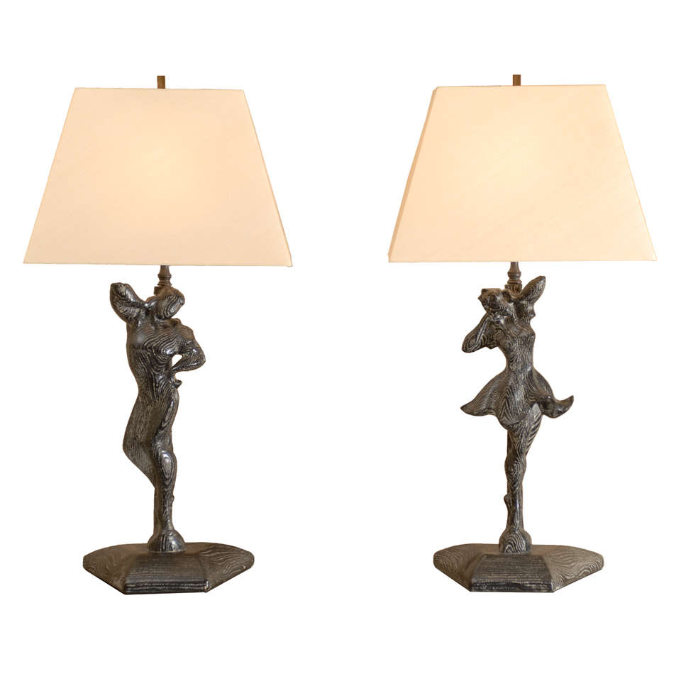 Elegant Restored Pair of Male and Female Dancer Lamps