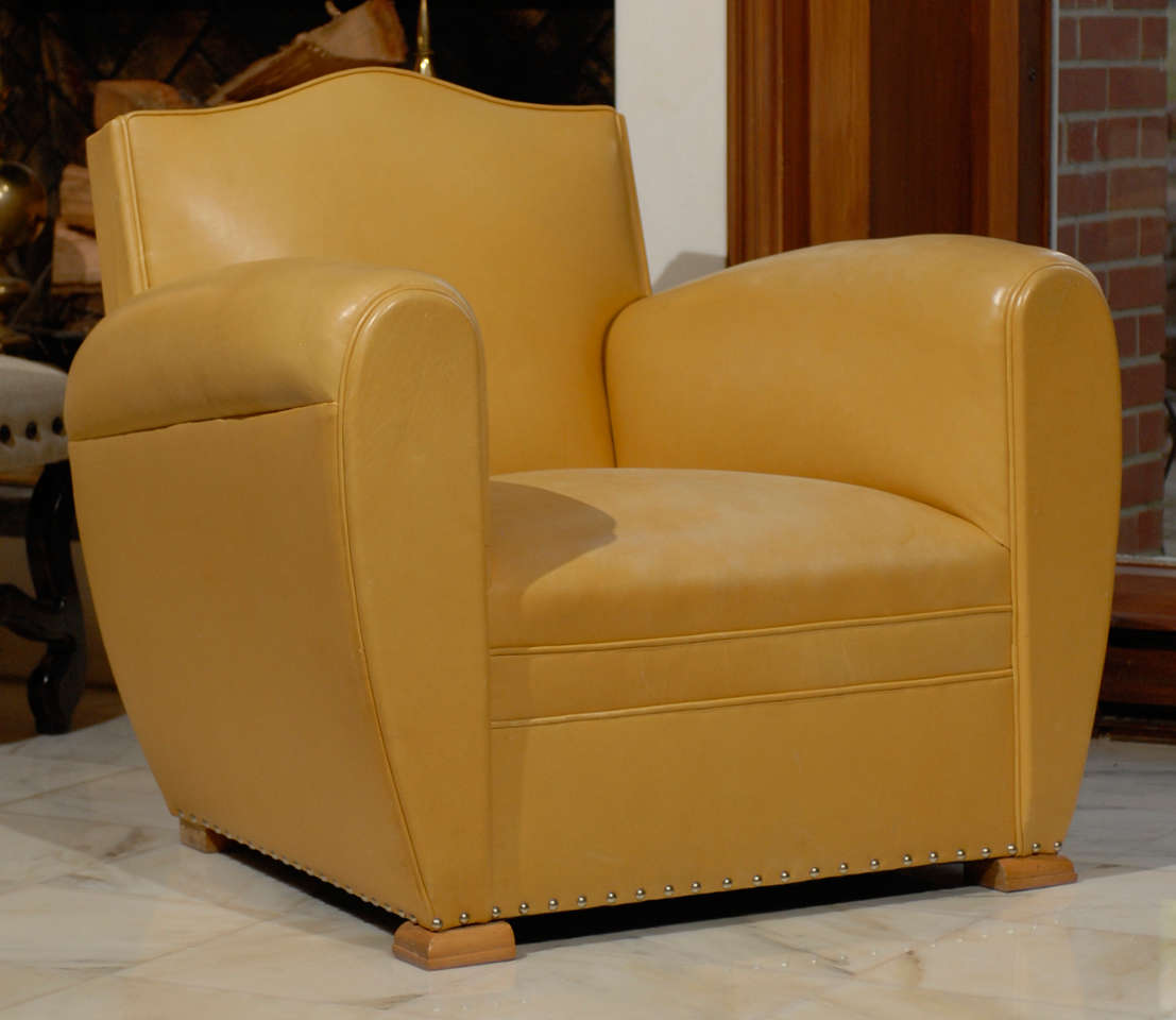 Handsome Art Deco Club Chairs in Yellow Ochre Leather 2