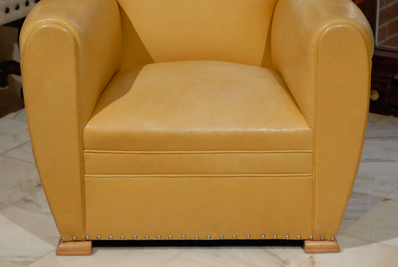 Handsome Art Deco Club Chairs in Yellow Ochre Leather 3