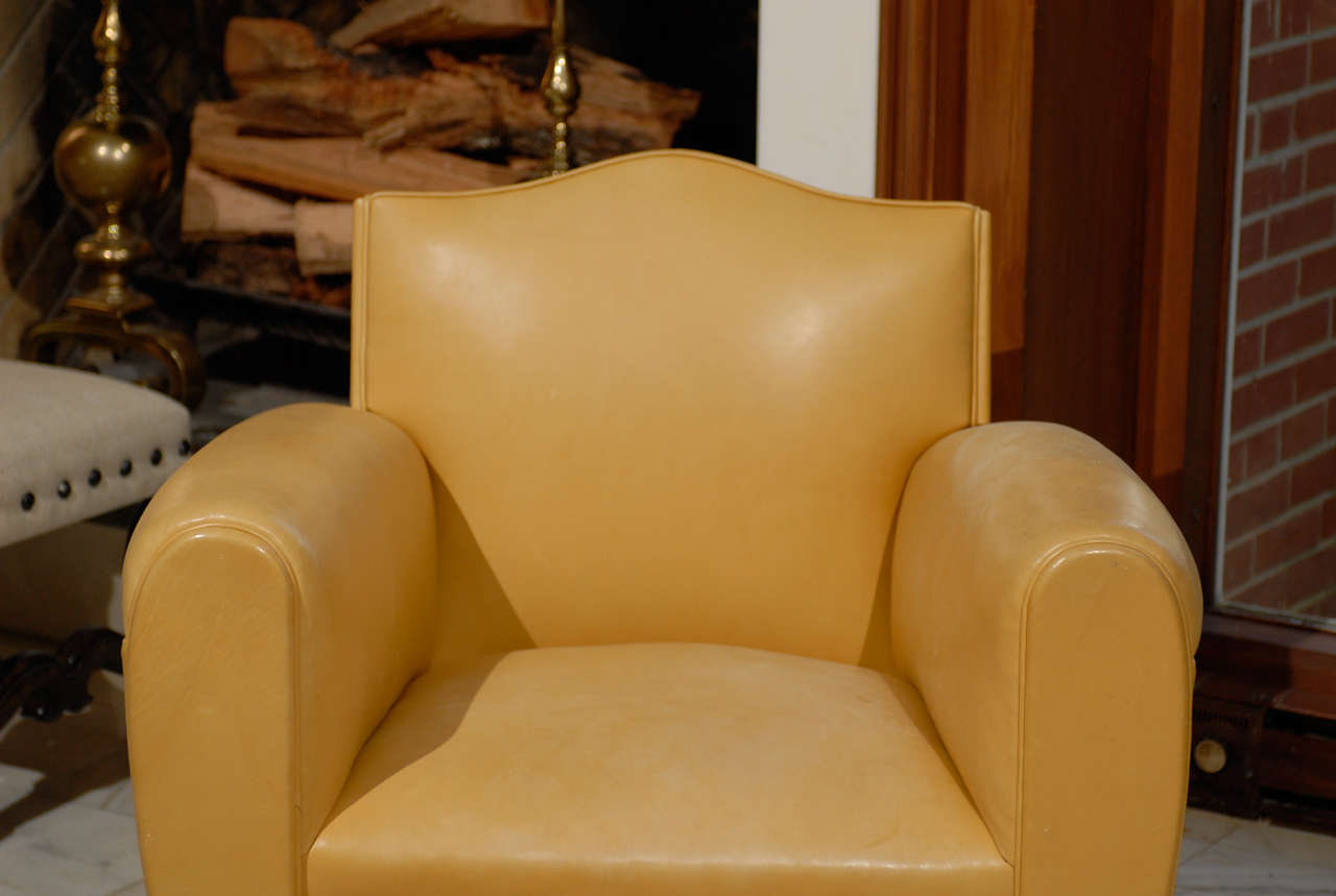 Handsome Art Deco Club Chairs in Yellow Ochre Leather 4