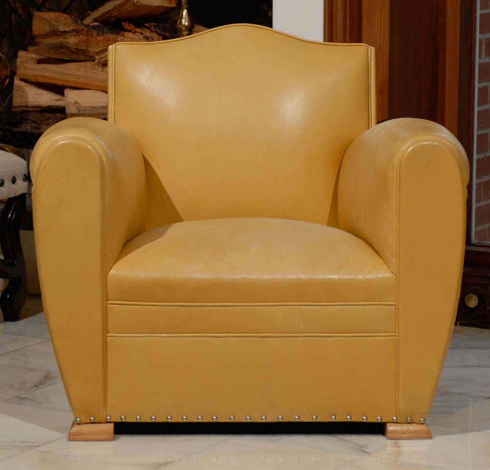 Handsome Art Deco Club Chairs in Yellow Ochre Leather 5