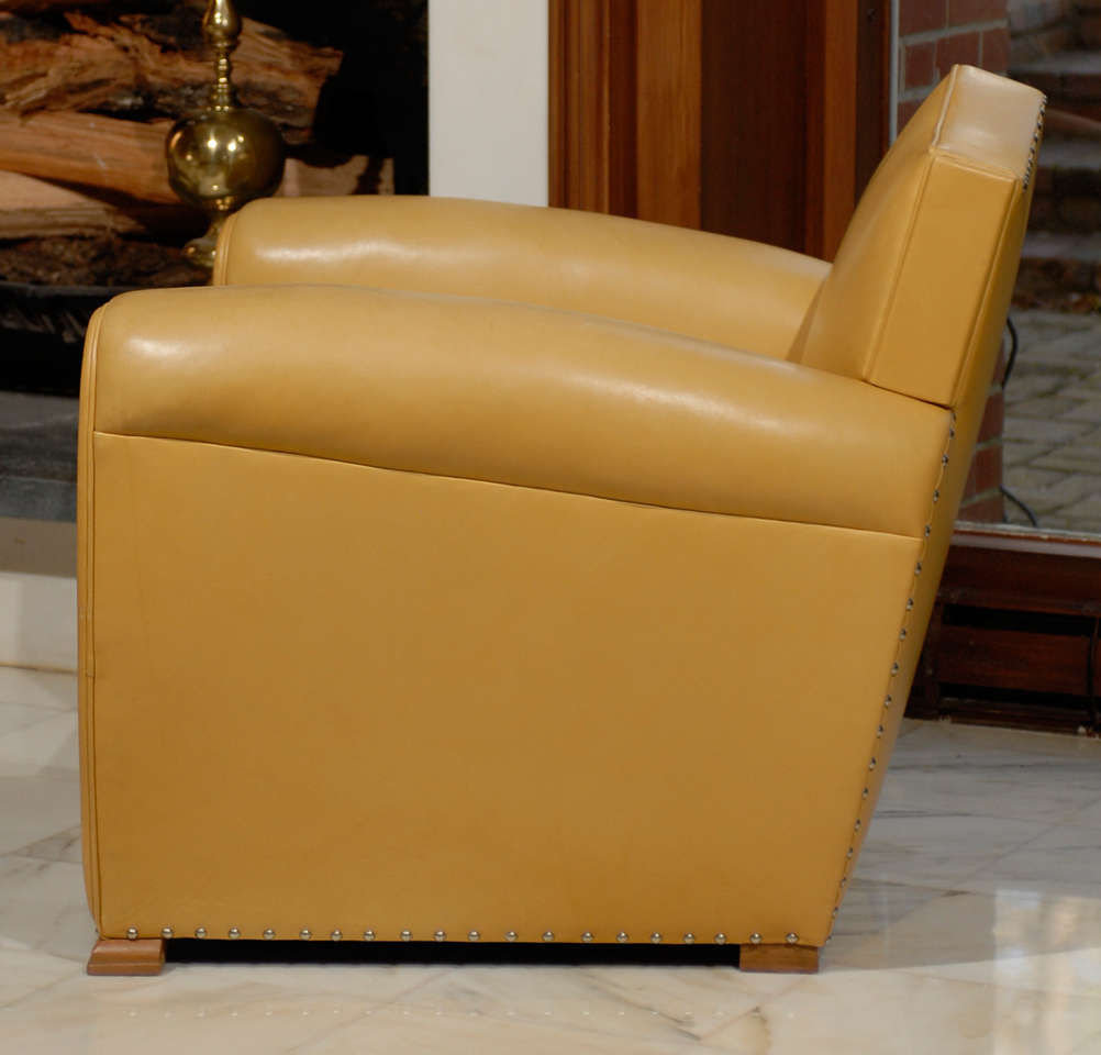 Handsome Art Deco Club Chairs in Yellow Ochre Leather 6