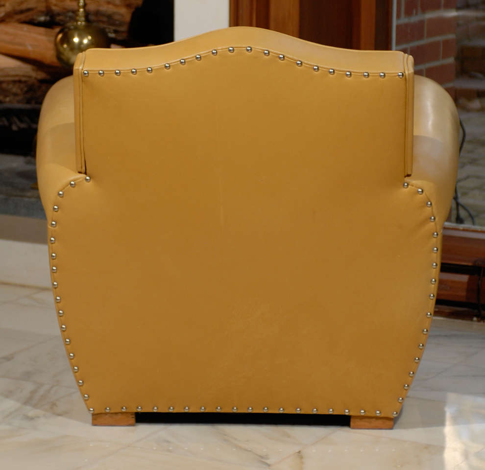 Handsome Art Deco Club Chairs in Yellow Ochre Leather 7