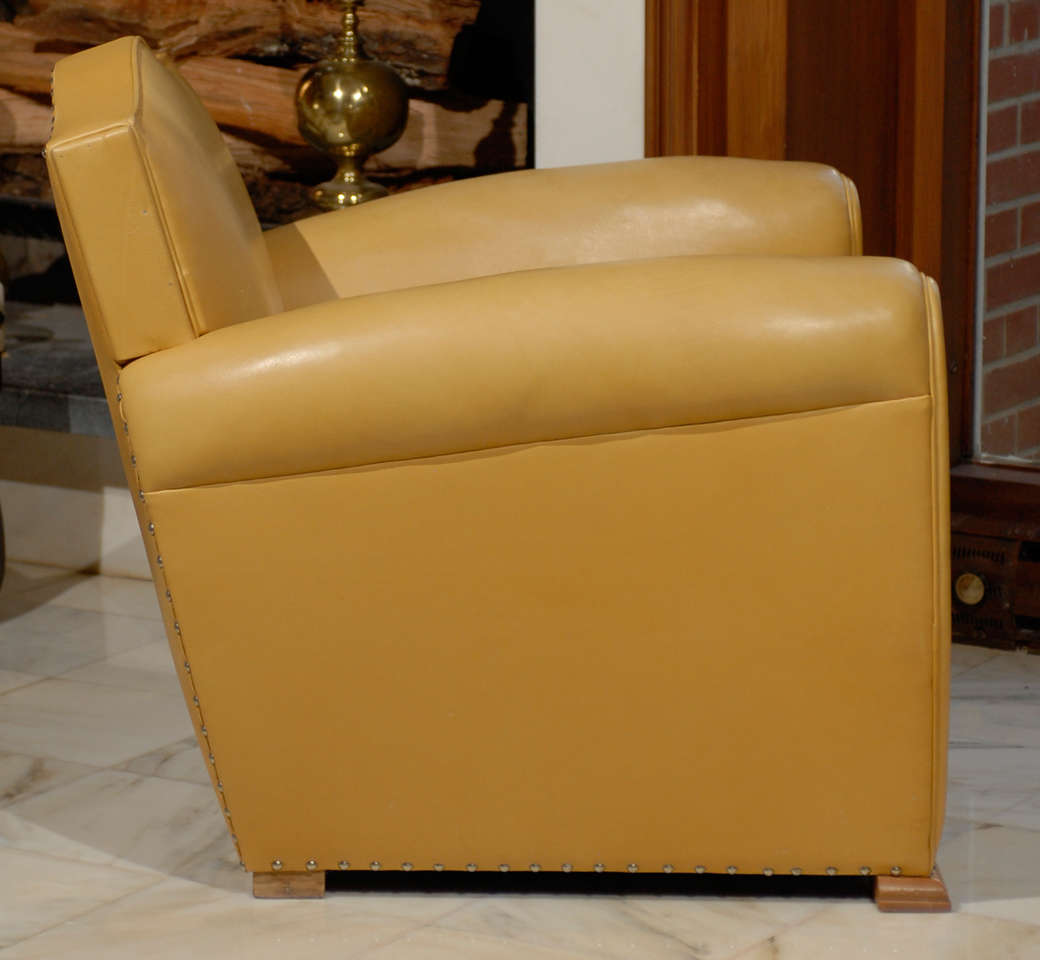 Handsome Art Deco Club Chairs in Yellow Ochre Leather 8