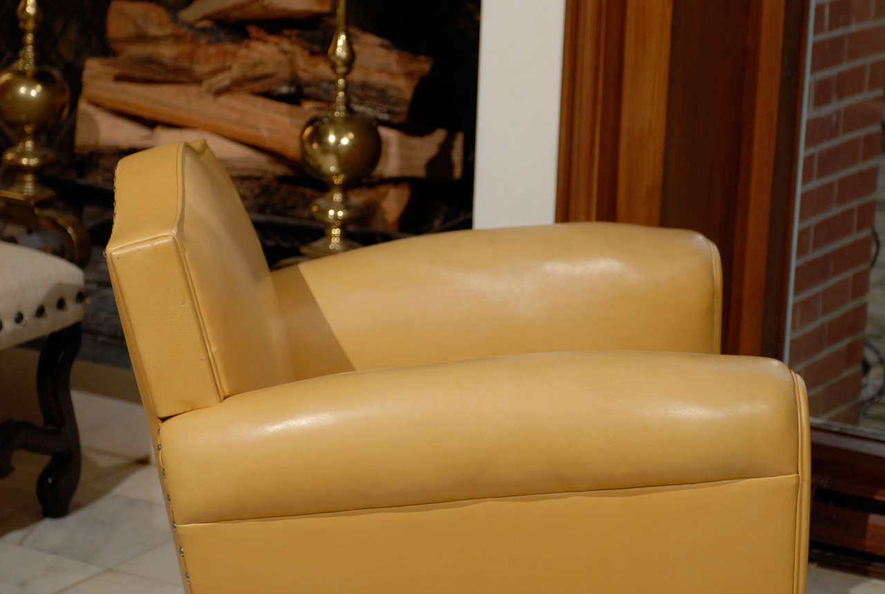 Handsome Art Deco Club Chairs in Yellow Ochre Leather 9