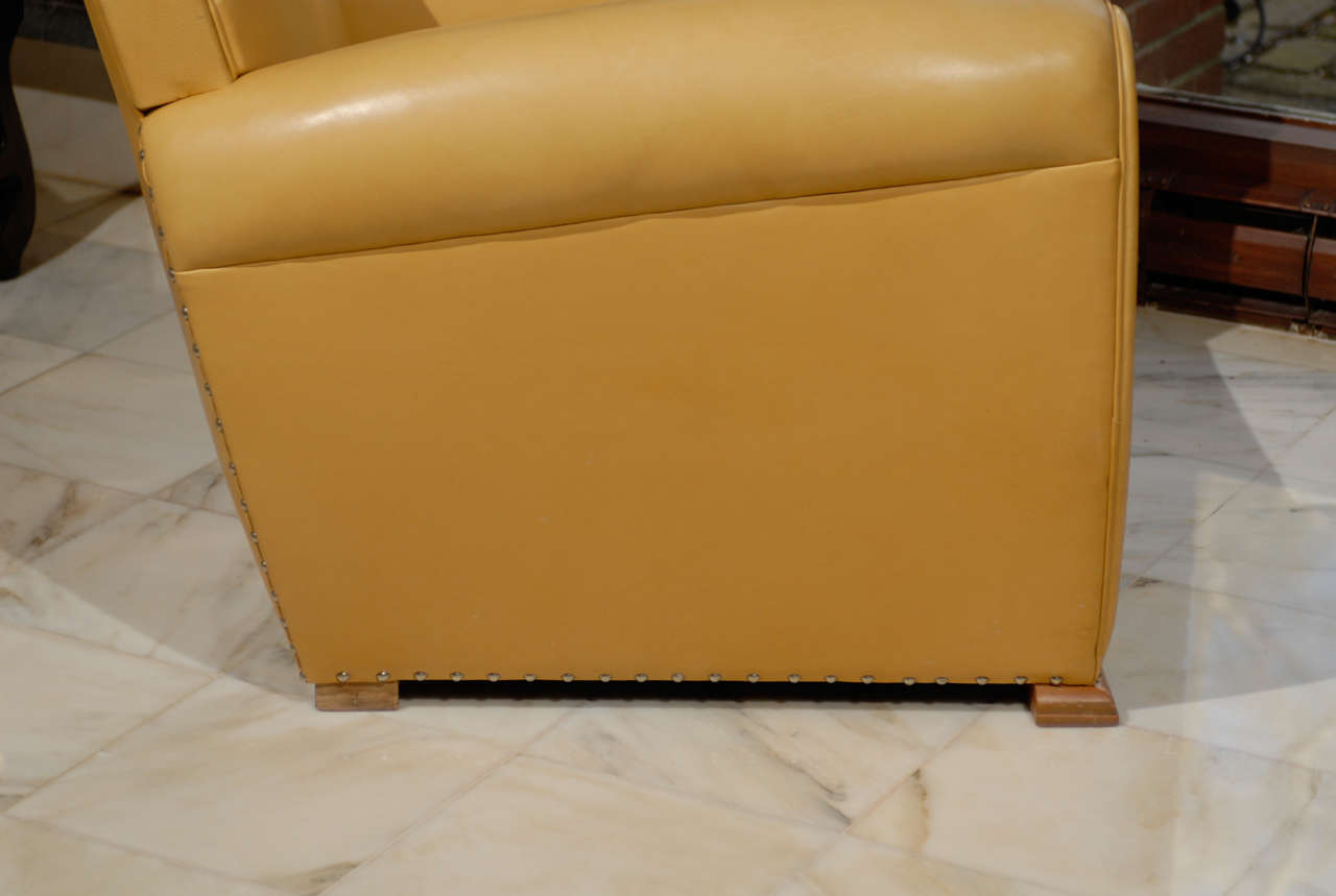 Handsome Art Deco Club Chairs in Yellow Ochre Leather 10
