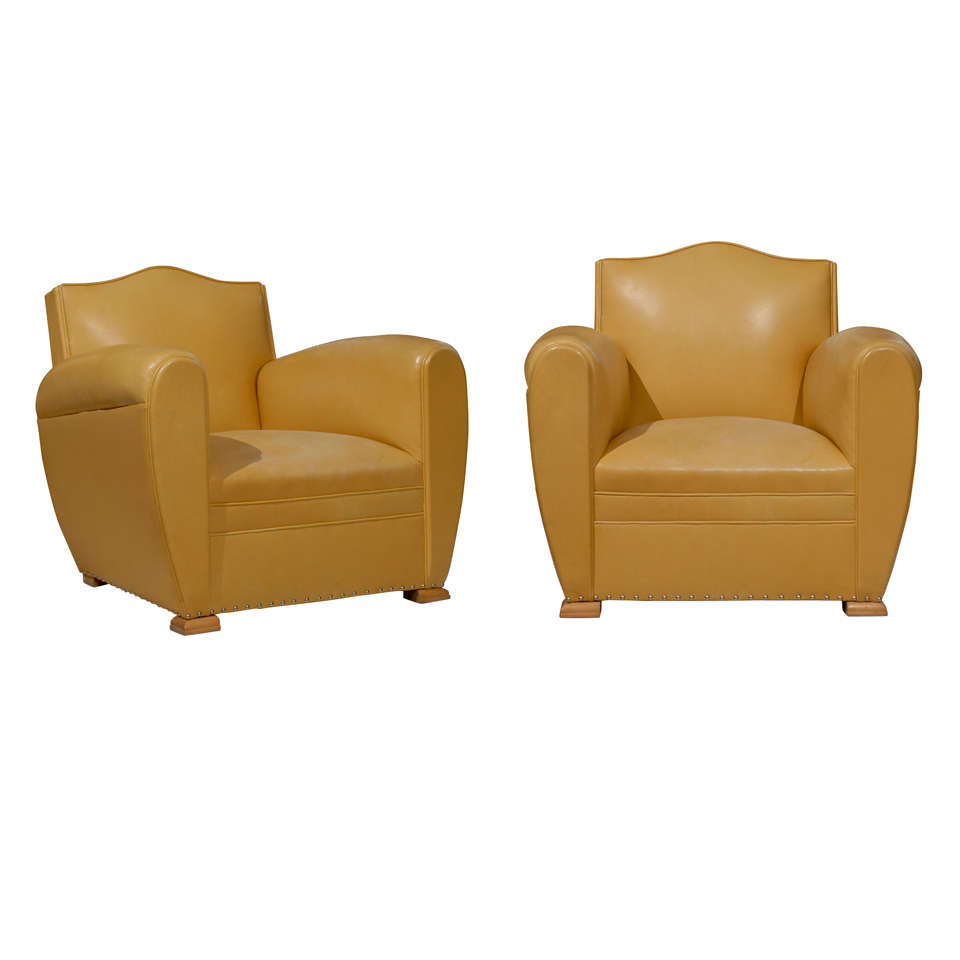 Handsome Art Deco Club Chairs in Yellow Ochre Leather 1