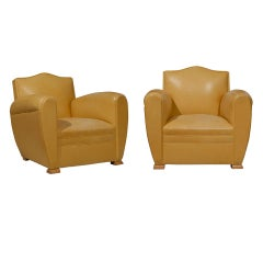 Handsome Art Deco Club Chairs in Yellow Ochre Leather