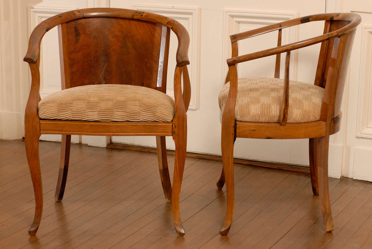 Beautiful Pair of Art Deco Burl Walnut Barrel Back Armchairs 2