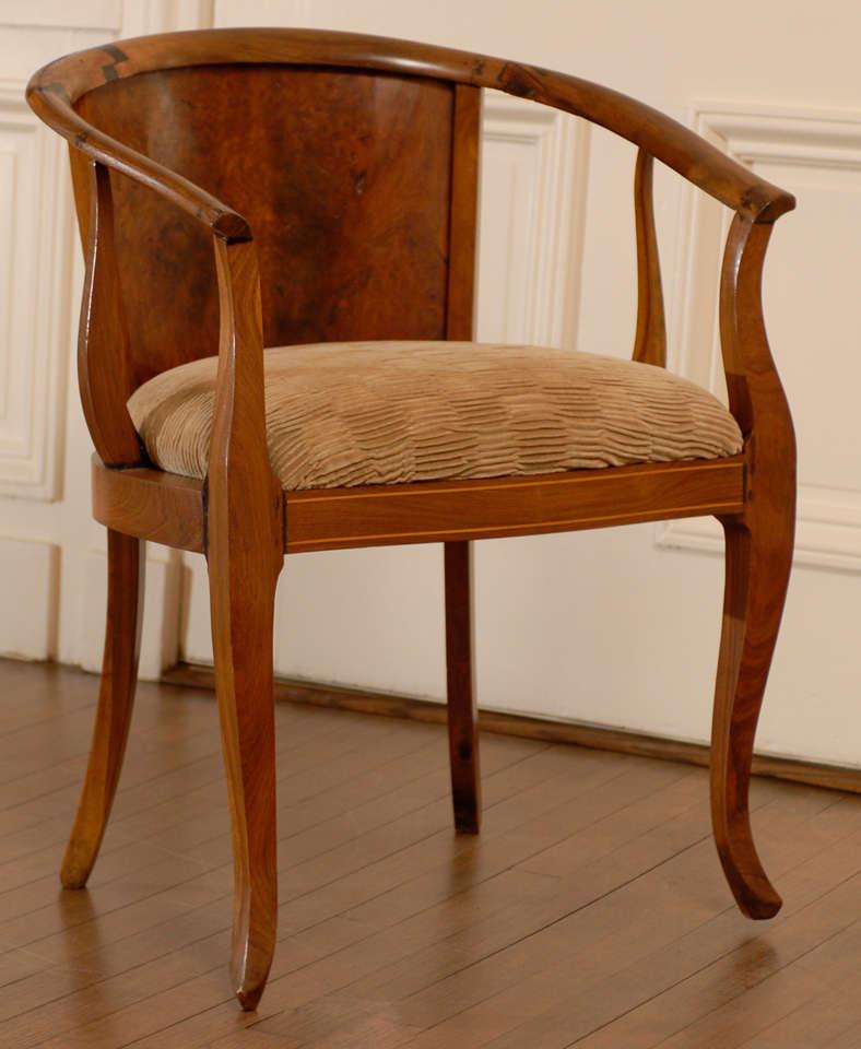 Unknown Beautiful Pair of Art Deco Burl Walnut Barrel Back Armchairs For Sale