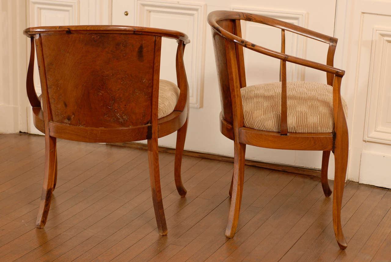Beautiful Pair of Art Deco Burl Walnut Barrel Back Armchairs 5