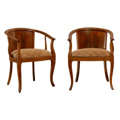 Beautiful Pair of Art Deco Burl Walnut Barrel Back Armchairs