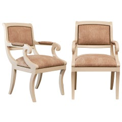 Gorgeous Karl Springer Style Regency Armchairs in Cream Lacquer - 4 Available