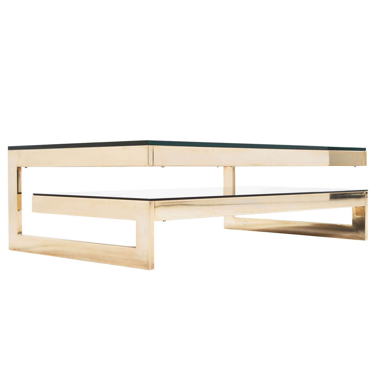Roche bobois gold plated two tier coffee table at 1stdibs Roche bobois coffee table