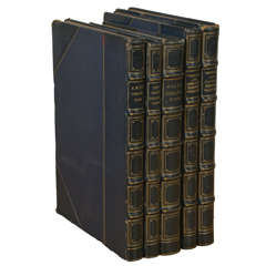 Set of 5 Navy Leather Bound Antique Books