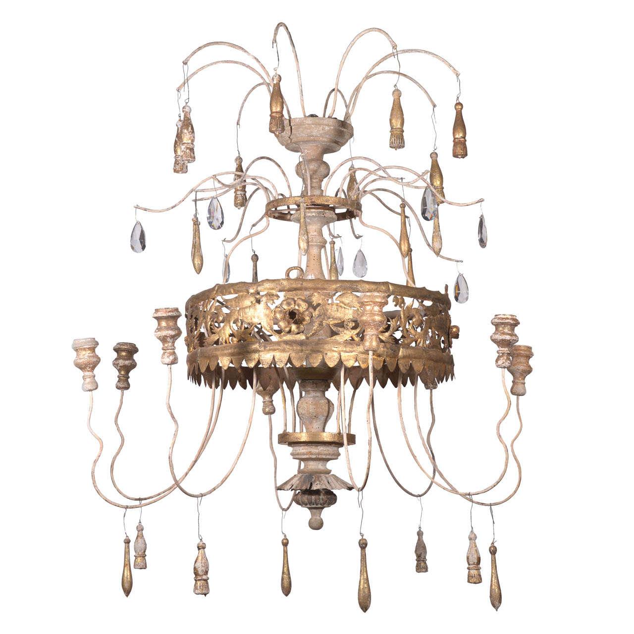 Antique Florentine-Italian Gilt Fern Crown Chandelier at ...