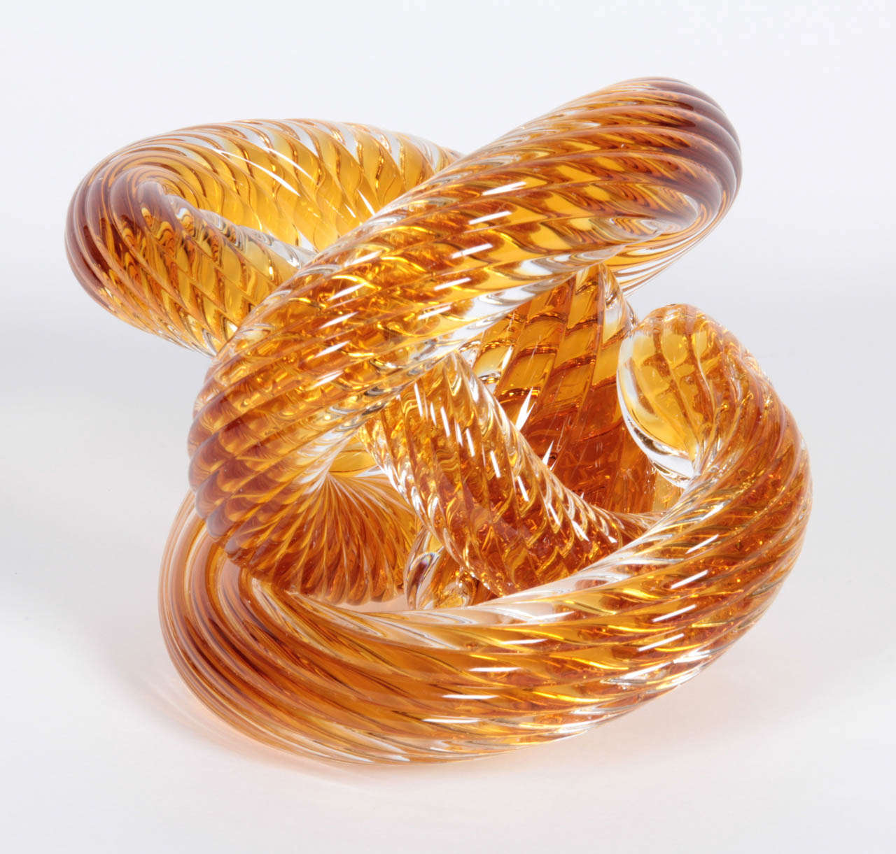 Mid-Century Modern Murano Crystal Coil Sculpture For Sale