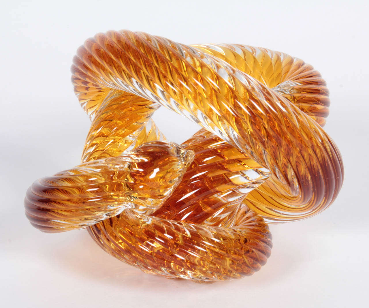 Italian Murano Crystal Coil Sculpture For Sale