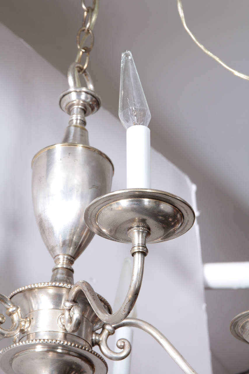20th Century English Silver Plate Chandelier with Five Arms For Sale