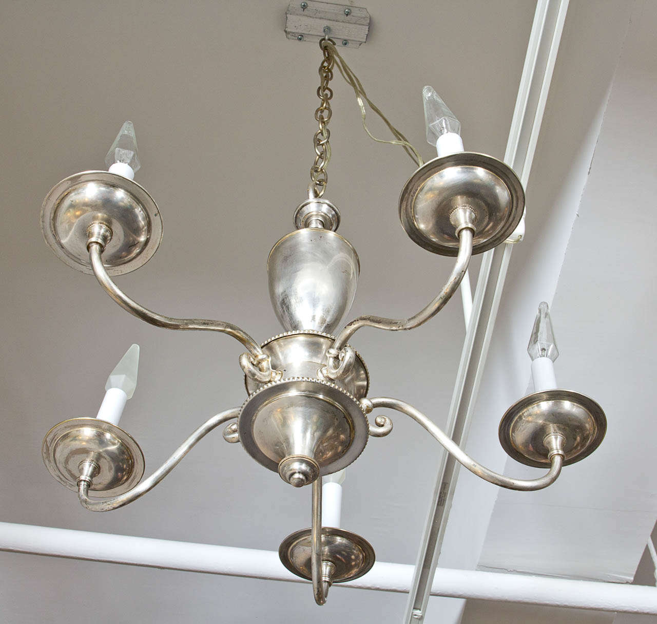 English Silver Plate Chandelier with Five Arms For Sale 1
