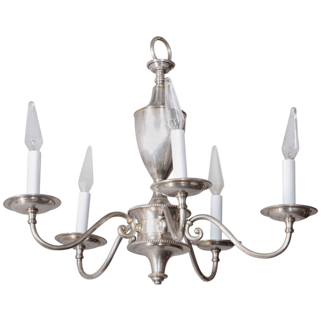 English Silver Plate Chandelier with Five Arms For Sale