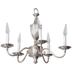 English Silver Plate Chandelier with Five Arms