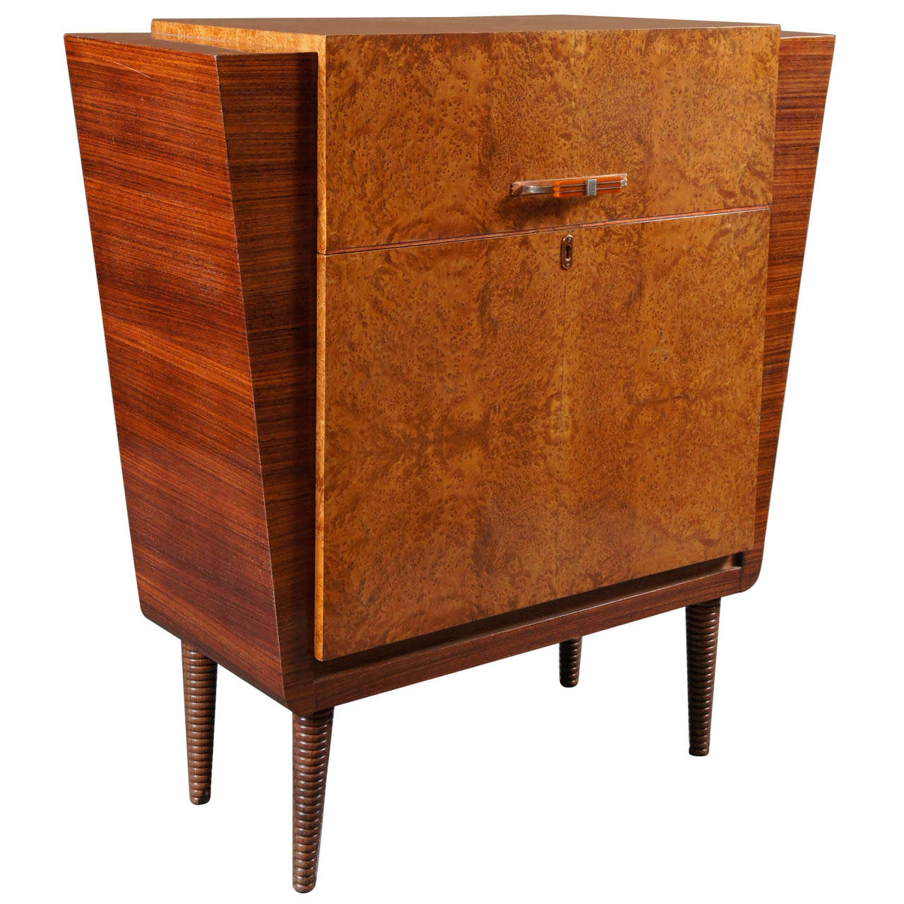 Very Impressive portraiture of Italian Deco 1930's Burl Wood Bar with Glass Shelf at 1stdibs with #C1700A color and 1280x1280 pixels